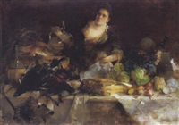 reiches stilleben mit weinausschenkender by karl von merode