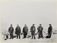 northern party outside the ice cave in which they has survived the antarctic winter by george murray levick