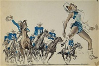 dallas cowboys on horseback following drum majorette (illus. for collier's) by willard mullin