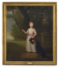 portrait of a young girl, standing, in a white dress with a pink sash and shoes, a dog by her side in a landscape by ramsay richard reinagle