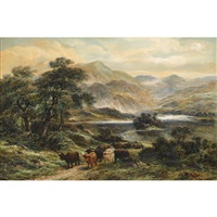 highland cattle by a loch by william langley