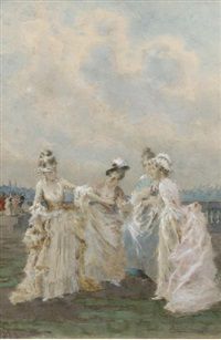 girls playing blind man's buff by angiolo achini