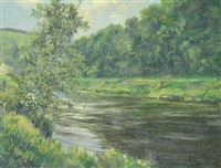angler on the river wye by william ellis barrington-browne
