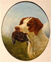 pointer and quail, a good retrieve by william jacob hays the younger