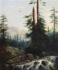 mountain scene with rocky waterfall by henry nesbitt mcevoy