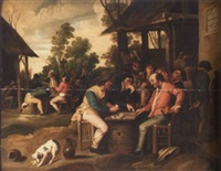 peasants playing cards outside an inn by vincent adriaensz