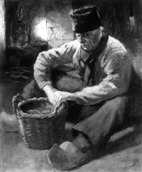 a volendam fisherman in an interior by adrien cyriaque bleys