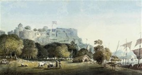 a view of chunar ghur by edward hawker locker