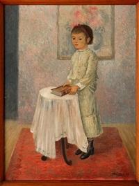 niña con libro en mesita by emilio rosenblueth