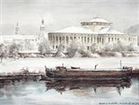 stadttheater saarbrücken, winterliche ansicht by fritz ludwig schmidt