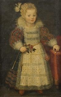 portrait en pied d'une jeune fille tenant une rose by cornelis troost
