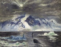 moonlit arctic seascape with a whale by frank wilbert stokes