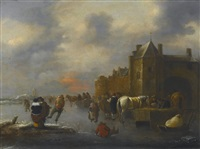 winter landscape with skaters on a river near a walled town by klaes molenaer