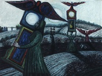 women with clocks in moonlit landscape by kees andrea