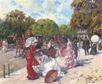 a summer street scene by juan puig soler