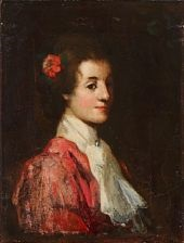 young woman with a red flower in her hair by david young cameron