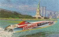 drambuie powerboat racing in new york harbour by michael vaughan
