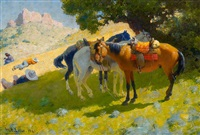 three riders resting by william robinson leigh
