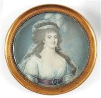 portrait de femme en robe de soie blanche by françois hippolyte desbuisson dit hipolite