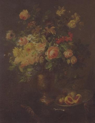vase de fleurs et coupe de fruits by pierre garnier