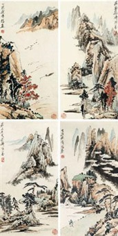 山水 (四帧) (4 works) by liang qi