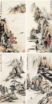 山水 (四帧) (4 works) by liang qi