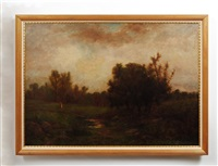 landscape with brook and figure by george w. picknell