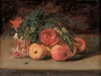 still life of fruit and flowers by thomas hicks