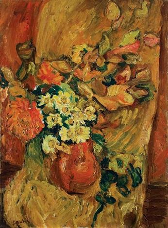 bouquet de fleurs en pot sur fauteuil by chaïm soutine