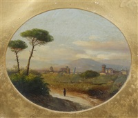 view of pisa; view of florence (pair) by e. altrui