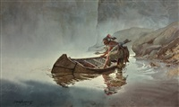 indian entering canoe by david allen halbach