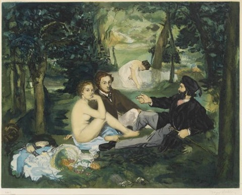 le déjeuner sur lherbe etched by jacques villon by édouard manet