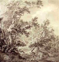 landscape with a house hidden between trees and two men near a small bridge by franciscus andreas milatz