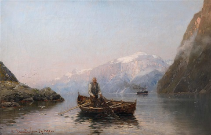 Fischer Und Dampfschiff Im Fjord By Georg Anton Rasmussen On Artnet