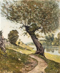 a winding river path, 1898 by henri joseph harpignies