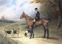 portrait of frank greswold williams, esq. of bredenbury court, bromyard on a bay hunter in a landscape accompanied by hounds by thomas percy earl
