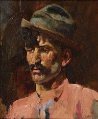 portrait of a man wearing a trilby and pink shirt by frank richards