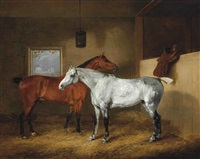 a dappled grey and a chestnut hunter in a stable, with windsor castle beyond by edmund bristow