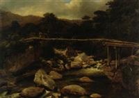 paisaje con puente de madera by jean baptiste louis (baron gros) gros