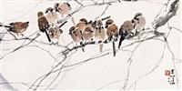 月下群雀 by yang shanshen