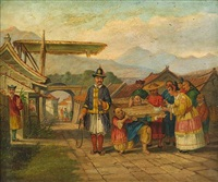 asian figures outside a village with a woman feeding a prisoner by anglo-chinese school (19)