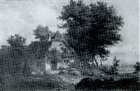 rustic scene with figures by a cottage by august (friedrich a.) reinhardt
