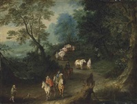 a wooded landscape with elegant figures and horse-drawn carts on a path, a village with a church beyond by jan brueghel the younger