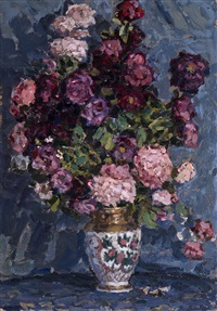 still life with flowers by petr ivanovich petrovichev
