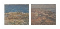 rocky cove (+ coast line; 2 works) by charles salis kaelin