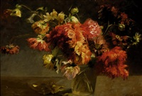 still-life with red flowers in a glass vase by marie heineken