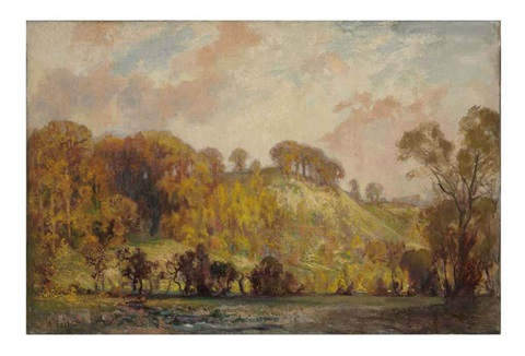 an autumn landscape by sir alfred east