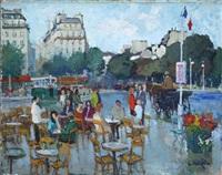 paris, terrasse de café animée sur le rond point des champs-elysées by constantine kluge