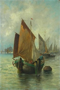boats in the venice lagoon by jules vernier