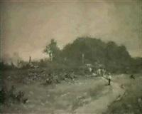 landskap med kor och vallpojke by f. e. hill
